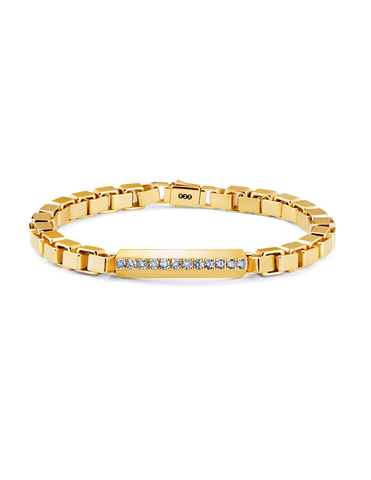 Mens Matte Large Box Chain Pave ID Bracelet in 18kt Yellow Gold