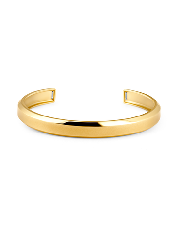 Mens Smooth Cuff Bangle with Baguettes Finished in 18kt Yellow Gold