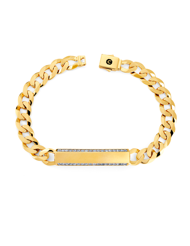 Mens Matte Curb Chain ID Bracelet with Brilliant Center Finished in 18kt Yellow Gold