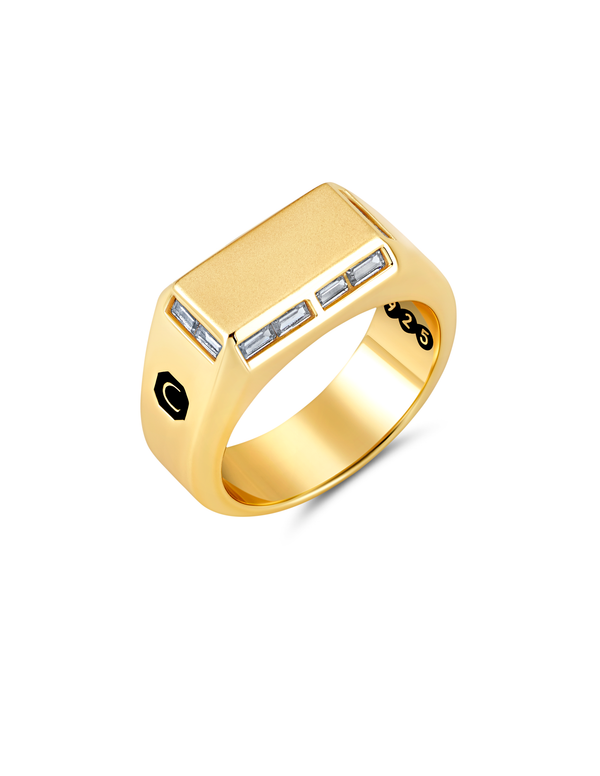 Mens Small Signet Ring with Baguettes Finished in 18kt Yellow Gold