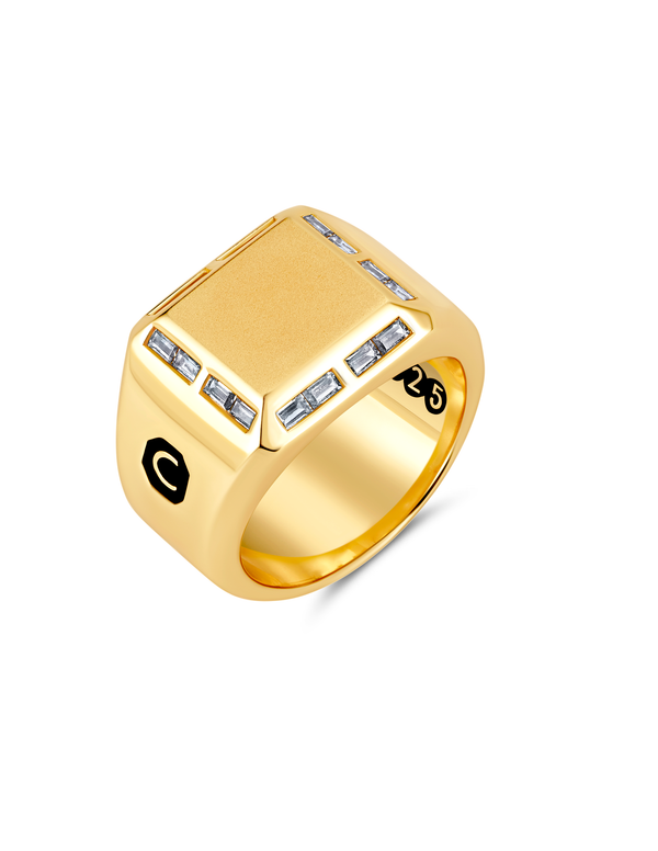 Mens Large Signet Ring with Baguettes Finished in 18kt Yellow Gold