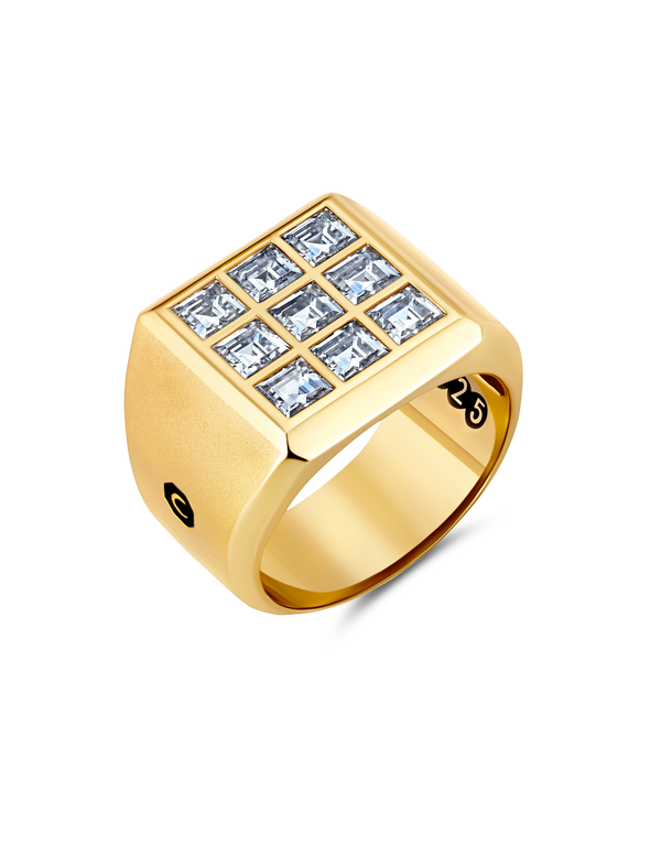Mens 9 Stone Square Cut Signet Ring Finished in 18kt Yellow Gold