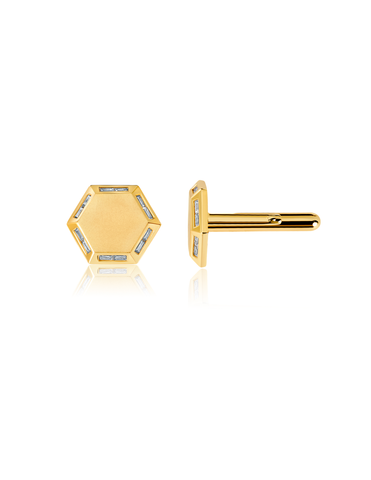 Mens Octagon Cufflinks accented with Baguettes finished in 18kt Yellow Gold