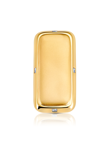 Mens Matte/Shiny Money Clip with Baguettes Finished in 18kt Yellow Gold