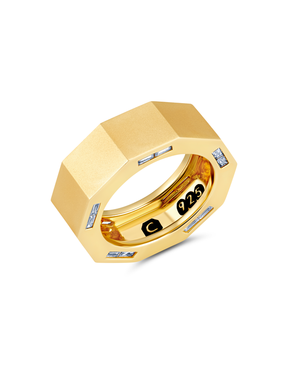 Mens Matte Octagon ring with inlayed Side Baguettes Finished in 18kt Yellow Gold