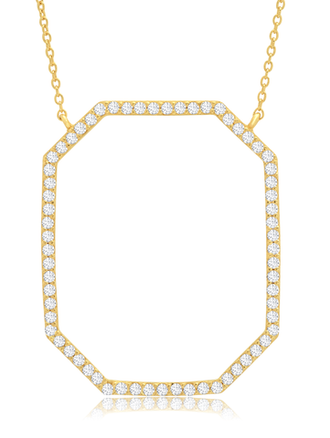 Open Octagon Pave Necklace In 18KT Yellow Gold