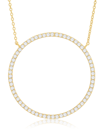 Open Pave Circle Necklace In 18KT Yellow Gold