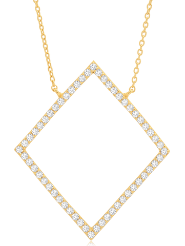Open Pave Diamond Necklace In 18KT Yellow Gold