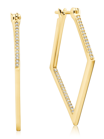 Diamond Shape Pave Hoop In 18KT Yellow Gold
