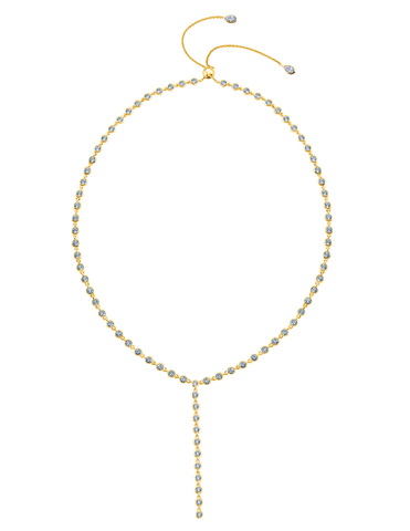Bezel Y- Necklace Finished in 18kt Yellow Gold