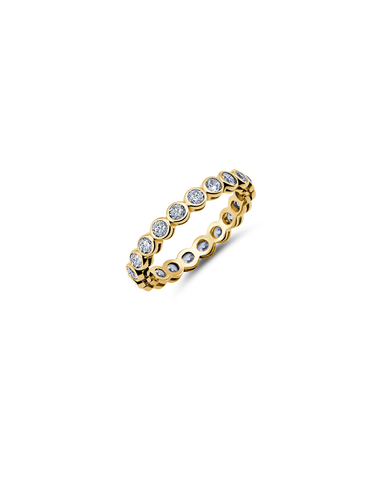 Sm CZ Bezel Eternity Band Finished in 18kt Yellow Gold
