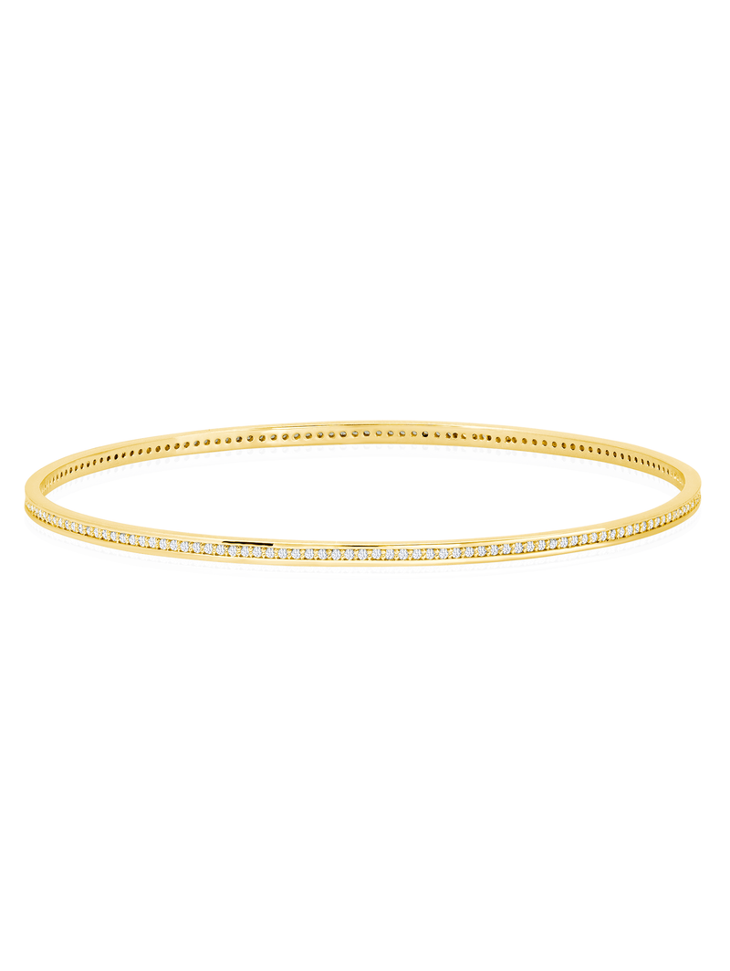 Pave Circle Bangle In 18kt Yellow Gold
