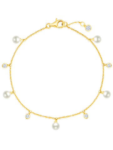 Multi Station Genuine Pearl Bracelet with CZ Bezel Set in Yellow Gold