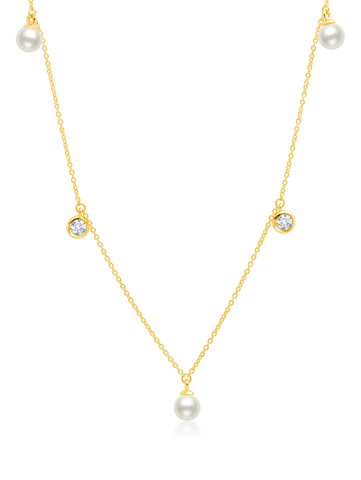 Genuine Pearl 5 drop Necklace accented with Bezel Set  Flawless Cubic Zirconia  In 18KT Yellow Gold