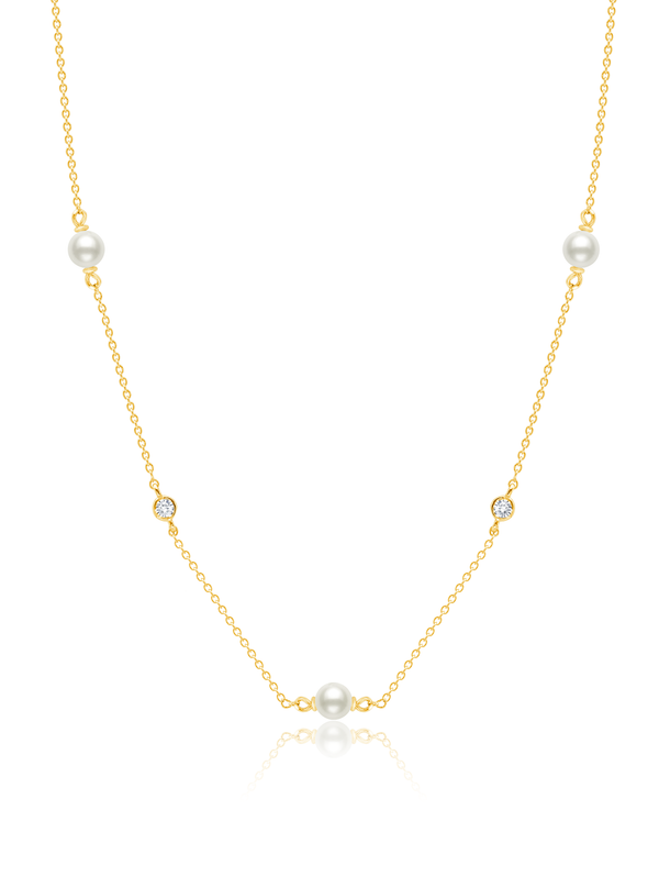 "Genuine Pearl 16""Multi Station Necklace accented with Bezel Set CZ in 18kt Yellow Gold"