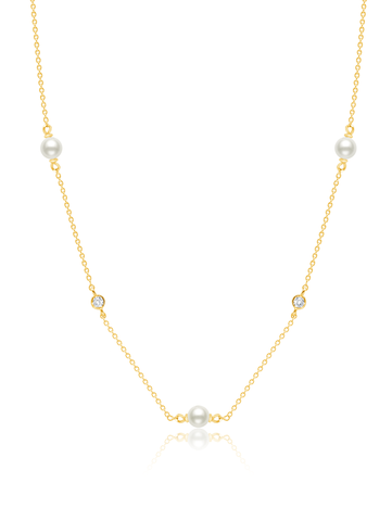 "Genuine Pearl 16""Multi Station Station Necklace accented with  Bezel Set  Flawless Cubic Zirconia In 18KT Yellow Gold"