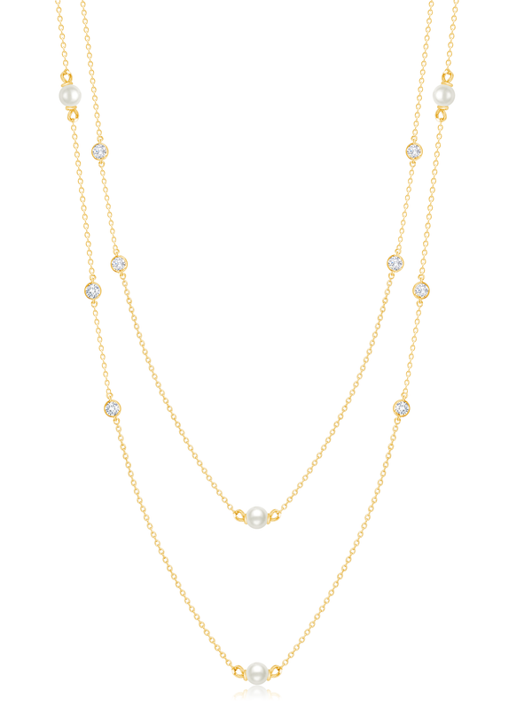 Genuine Double Layered Pearl Necklace Finished in 18kt Yellow Gold