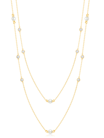 "Genuine Pearl 36""  Multi Station Necklace accented with  Bezel Set  Flawless Cubic Zirconia In 18KT Yellow Gold"