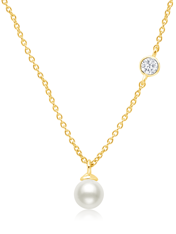 Genuine Pearl Drop Pendant  accented with Bezel Set  Cubic Zirconia In 18kt Yellow Gold
