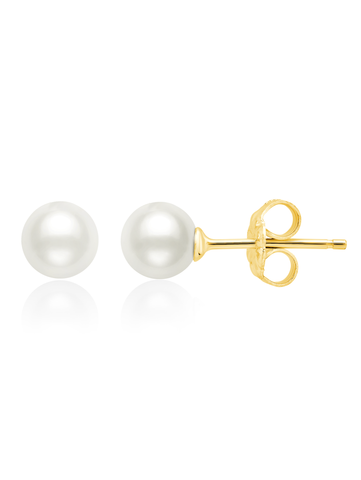Genuine Pearl Stud Earrings In 18kt Yellow Gold