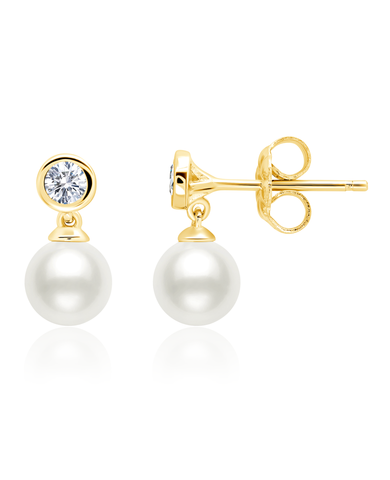 Genuine Pearl Drop Earrings accented with Bezel Set Flawless Cubic Zirconia In 18kt Yellow Gold