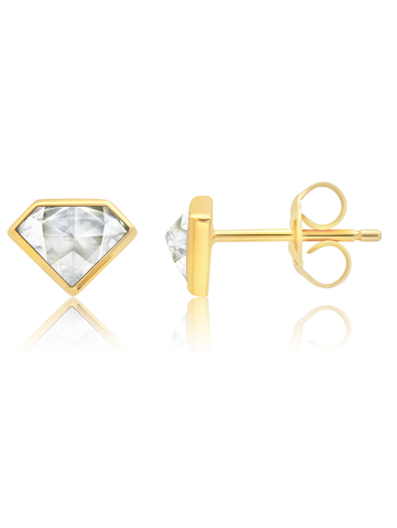 Classic Rosecut Diamond shape  Stud Earrings In 18kt Yellow Gold