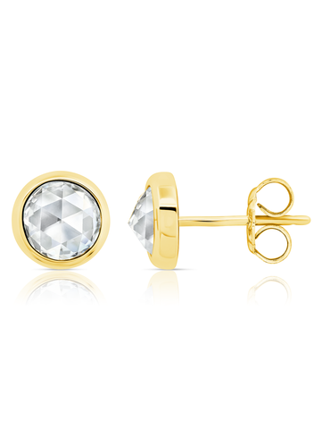 Classic Rosecut Brilliant Stud Earring In 18KT Yellow Gold