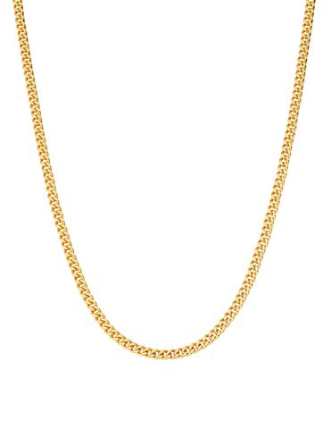 Mens Matte Curb Chain Necklace Finished in 18kt Yellow Gold