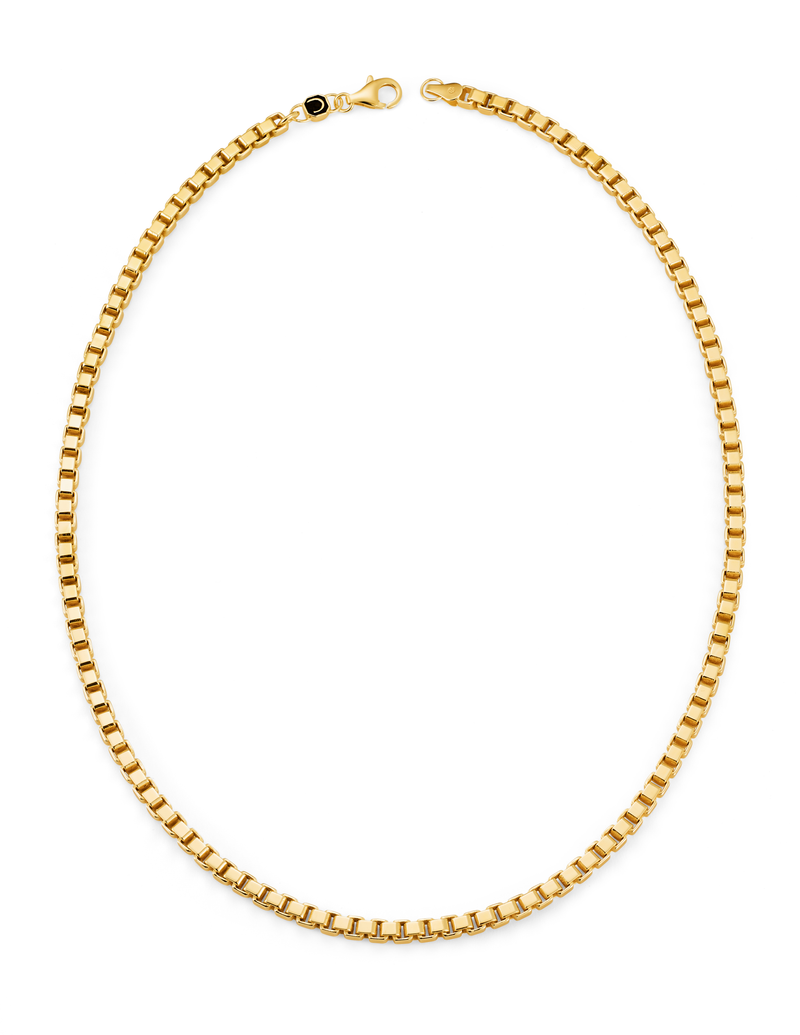 Mens Matte Box Chain Necklace Finished in 18kt Yellow Gold