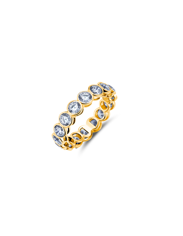 Large Bezel Eternity Band Finished in 18kt Yellow Gold