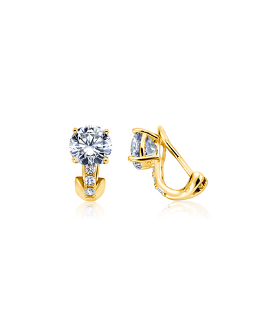 Postless Stud Earrings Finished in 18kt Yellow Gold