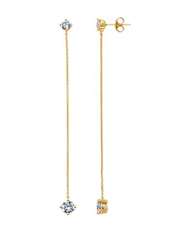 Chain Prong Set Linear Earrings Finished in 18kt Yellow Gold