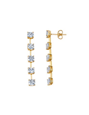 Asscher Cut Bar Linear Earrings Finished in 18kt Yellow Gold