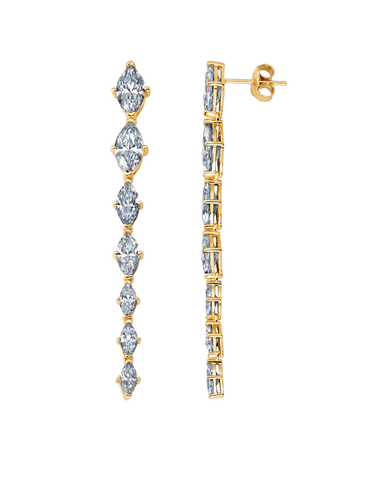 Graduated Marquis Linear Earrings Finished in 18kt Yellow Gold