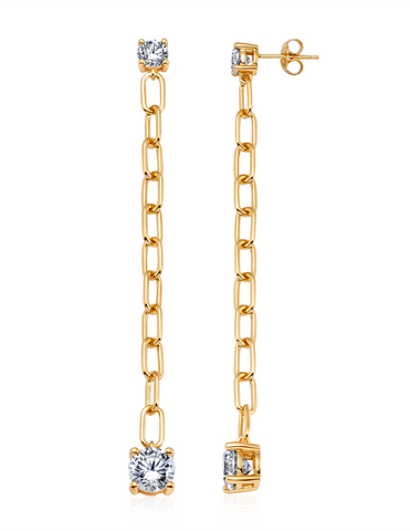 Large Link Prong Drop Earrings Finished in 18kt Yellow Gold
