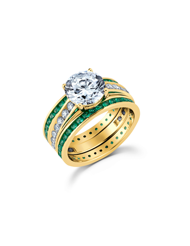 Engagement Ring Set with Emerald Bands Finished in 18kt Yellow Gold