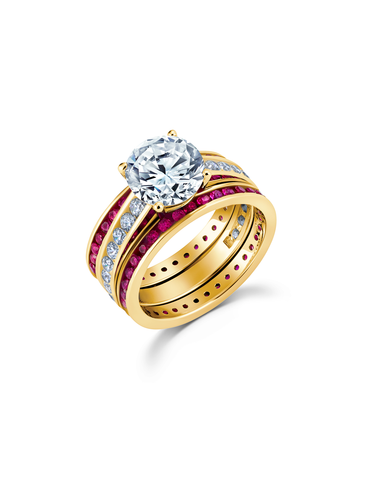 Engagement Ring Set with Ruby Bands Finished in 18kt Yellow Gold