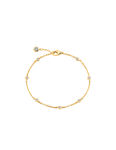 Small Bezel Station Anklet Finished in 18kt Yellow Gold