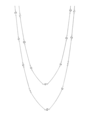 "Pure platinum Bezel 36"" cubic zirconia Necklace"