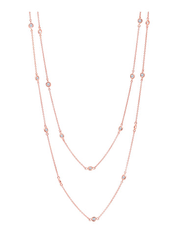 "Bezel 36"" Necklace Finished in 18KT Rose Gold"