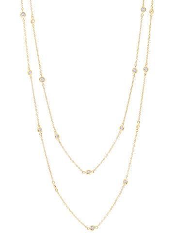 "Gold Bezel 36"" cubic zirconia Necklace"