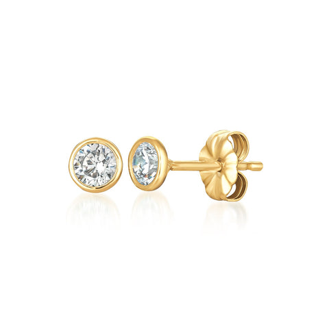 Solitaire Bezel Set Earrings Finished in 18kt Yellow Gold - 1.0 Cttw