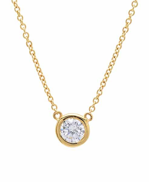 Solitaire Bezel Pendant Small Finished in 18kt Yellow Gold