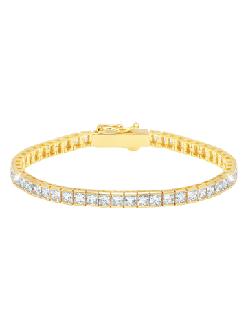 Gold Classic Medium Princess cubic zirconia Tennis Bracelet
