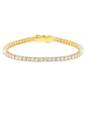 Gold Classic Medium Brilliant cubic zirconia Tennis Bracelet