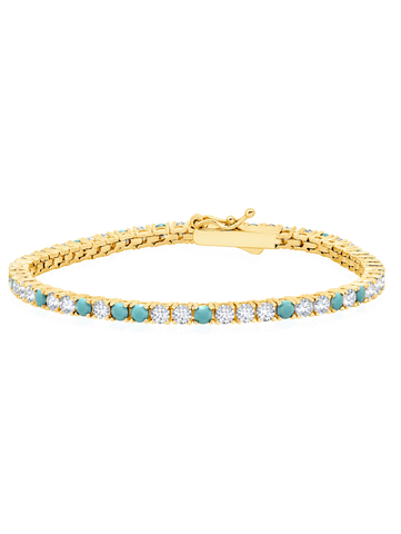 Turquoise and Flawless Cubic Zirconia Tennis Bracelet In 18KT Yellow Gold