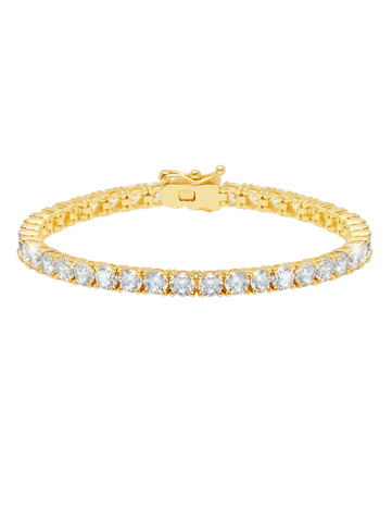 Gold Classic Large Brilliant cubic zirconia Tennis Bracelet