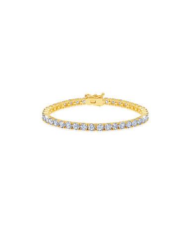 Mens Brilliant Cut Tennis Bracelet Finished in 18kt Yellow Gold