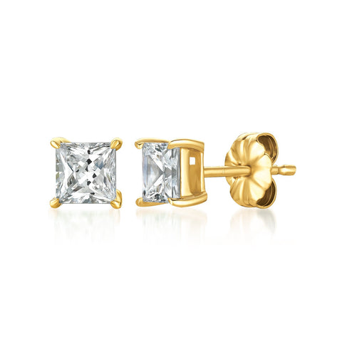 Solitaire Princess Stud Earrings Finished in 18kt Yellow Gold - 1.50 Cttw