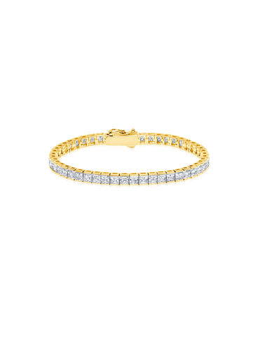 Mens Square Cut Tennis Bracelet Finished in 18kt Yellow Gold